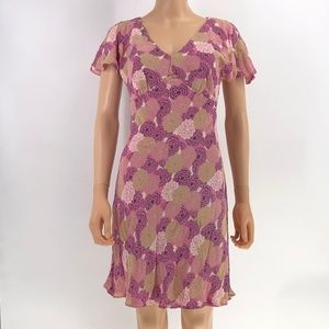 Lily pink floral print dress lined size PM